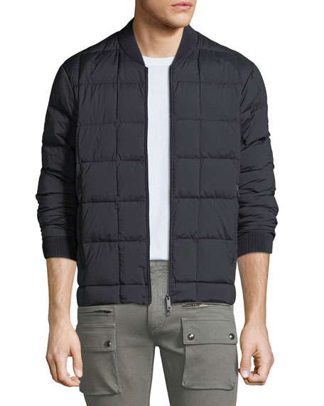 Emporio Armani Men's Stretch-Check Quilted Bomber Jacket