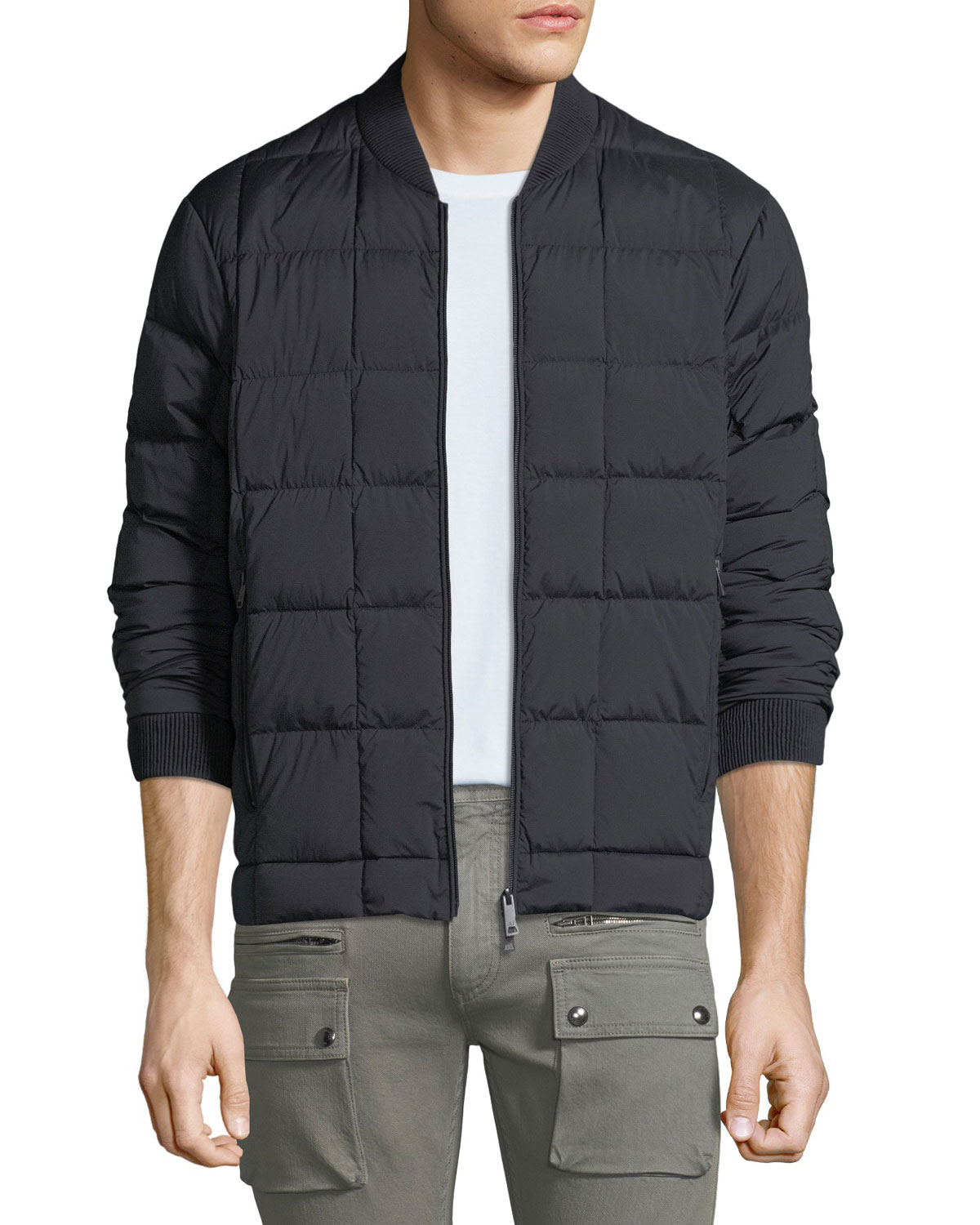 3a2ff63e2 Men's Stretch-Check Quilted Bomber Jacket