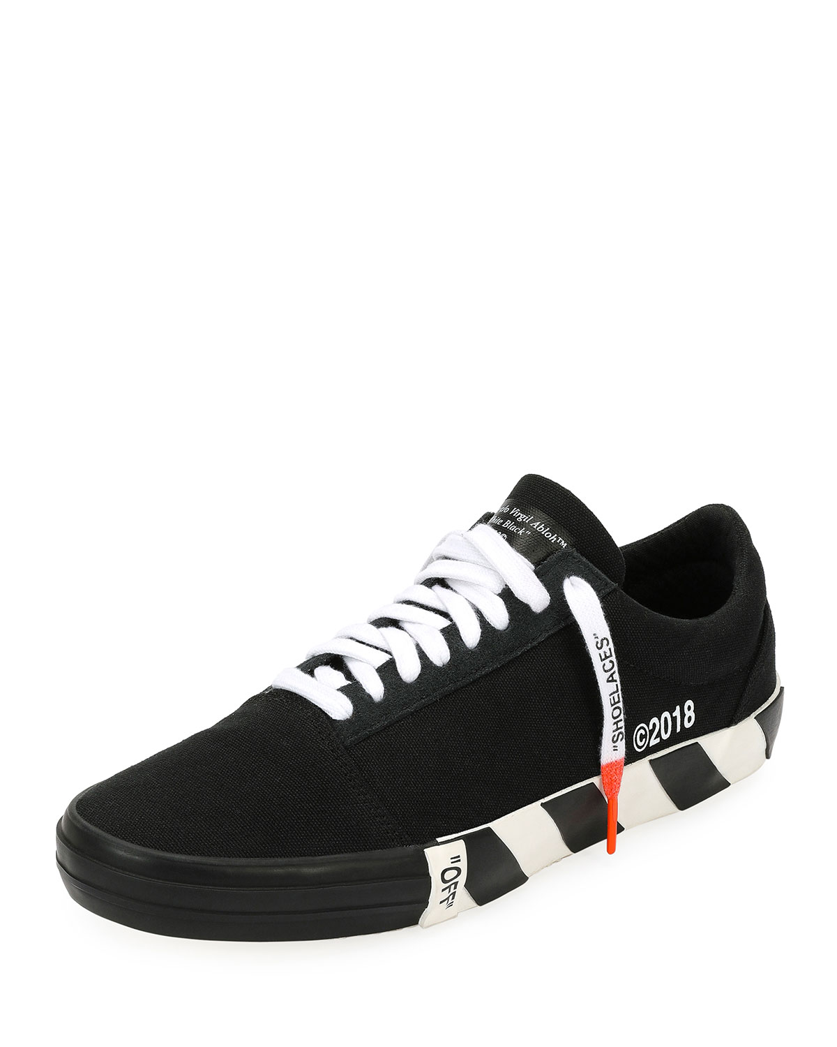 Off-White Men s Vulc Striped-Sole Canvas Low-Top Sneaker  06a5ef493a88
