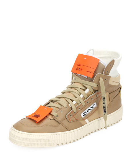 Off-White Men's Low 3.0 Suede/Leather High-Top Sneaker, Beige