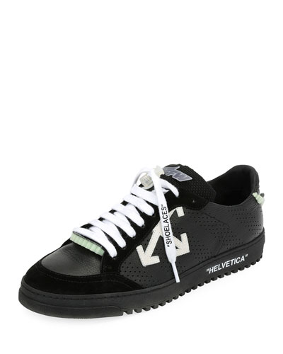 Men's 2.0 Perforated Leather & Suede Low-Top Sneaker, Black