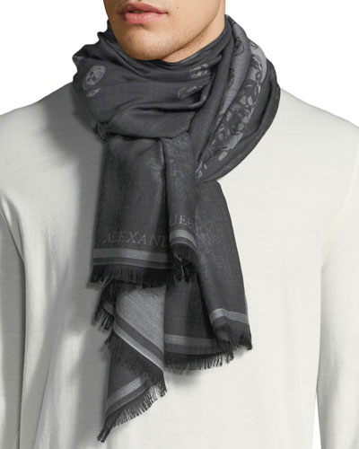 Men's Degenerating Skull Wool Scarf