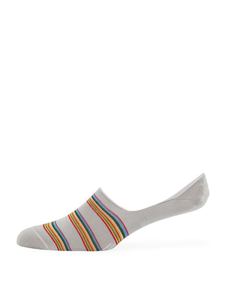 Men's Striped Cotton-Blend No-Show Socks