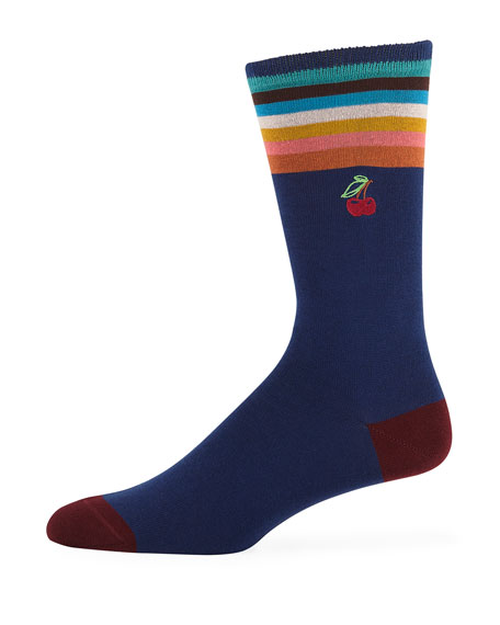 Paul Smith Men's Embroidered Cherry Cotton-Blend Socks