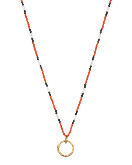 Men's 18k Beaded Necklace w/ Ouroboros, Red