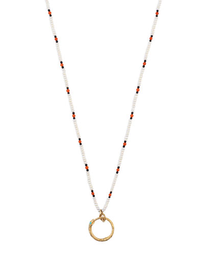 Men's 18k Beaded Necklace w/ Ouroboros, White