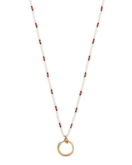 Gucci Men's 18k Beaded Necklace w/ Ouroboros, White