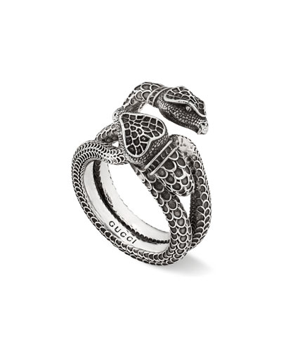 Men's Engraved Snake Ring