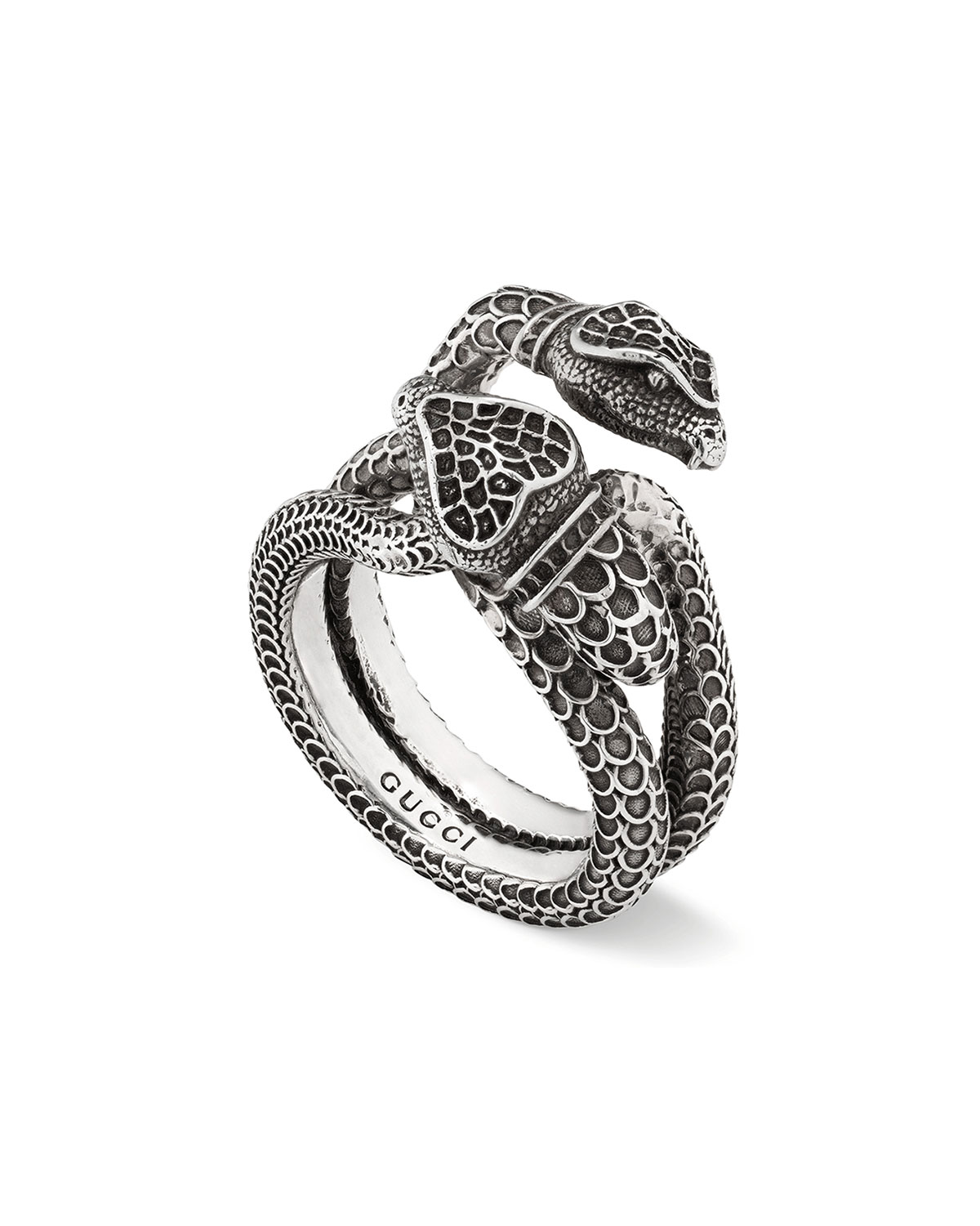 1fbd5d295ca4d2 GucciMen's Engraved Snake Ring, Size 10.5. Heart ring with Gucci trademark. Gucci  GUCCI ...