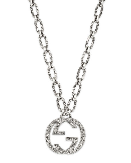 "Men's Interlocking G Pendant Necklace, 36""L"