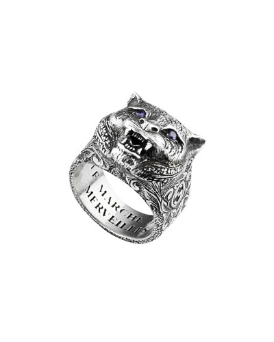 Men's Feline Head Ring, Size 10.5