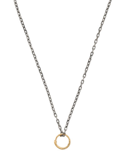 Men's Snake Ring Pendant Necklace w/ 18k Gold