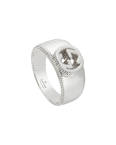Men's Silver Interlocking G Band Ring