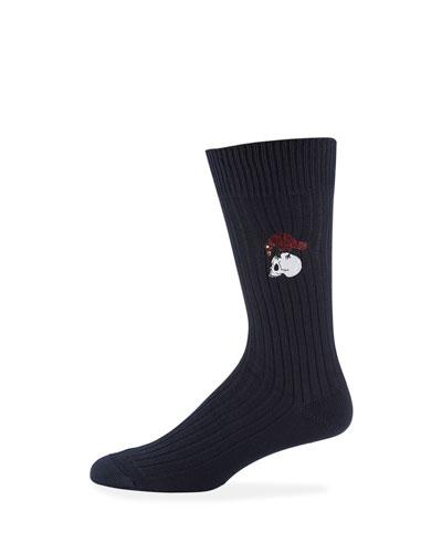 Men's Chunky-Knit Skull & Bird Cotton Socks