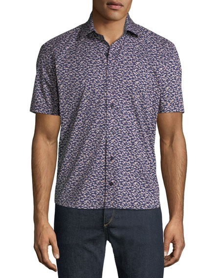 CULTURATA MEN'S GRAPHIC-PRINT SOFT TOUCH SHORT-SLEEVE SPORT SHIRT