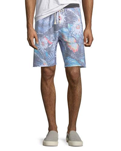 Men's Floral-Print Knit Shorts