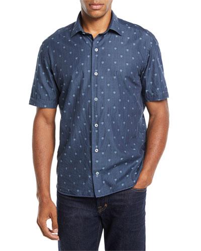 Men's Short-Sleeve Skull-Print Denim Sport Shirt