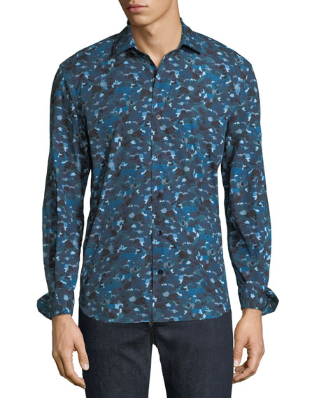 CULTURATA MEN'S ABSTRACT-PRINT COTTON SPORT SHIRT