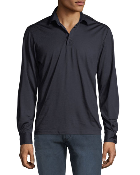 Culturata Men's Premium Wool Long-Sleeve Polo Shirt