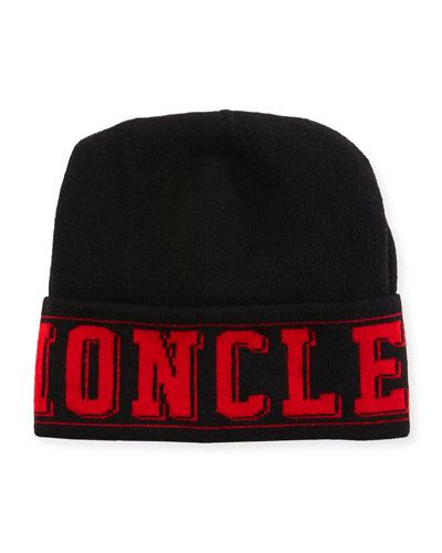 Men's Tricot-Knit Logo Beanie Hat