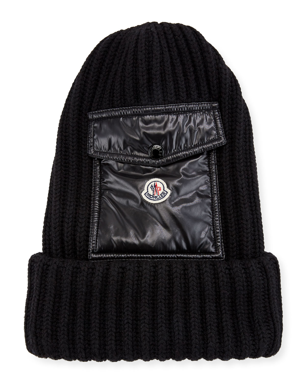 5b2b89d1466 Moncler Men s Ribbed Beanie Hat w  Flap Pocket