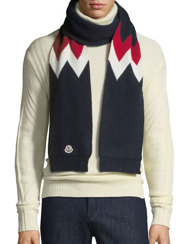 Men's Chevron-Knit Wool Scarf