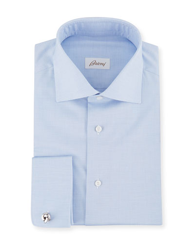 Men's Horizontal Weave French-Cuff Dress Shirt