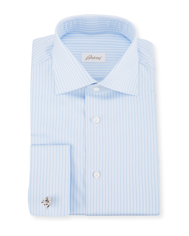 c609ba063c5c Brioni Men s Tonal-Stripe French-Cuff Dress Shirt