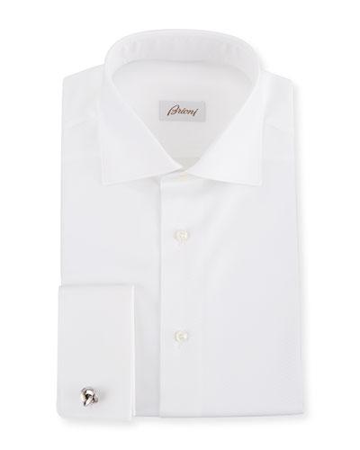 Men's Diamond-Weave French Cuff Dress Shirt