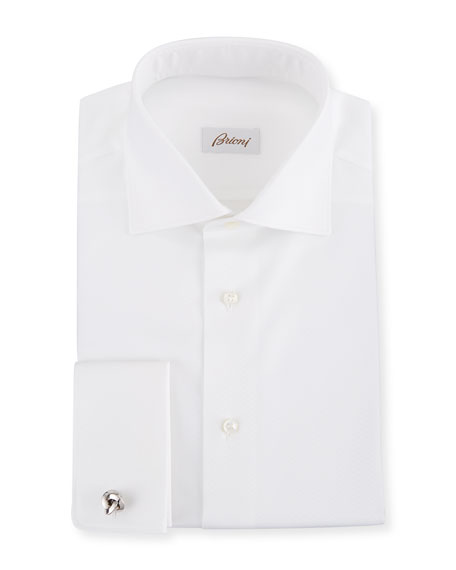 Brioni Men's Diamond-Weave French Cuff Dress Shirt