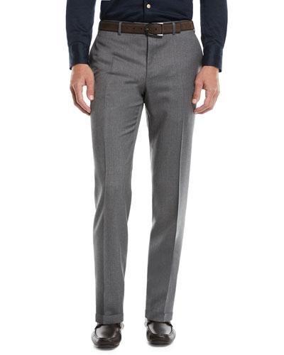 Men's Flat-Front Wool Pants
