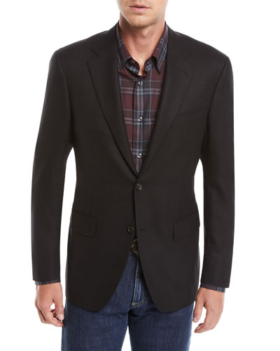 Men's Solid Wool Two-Button Blazer