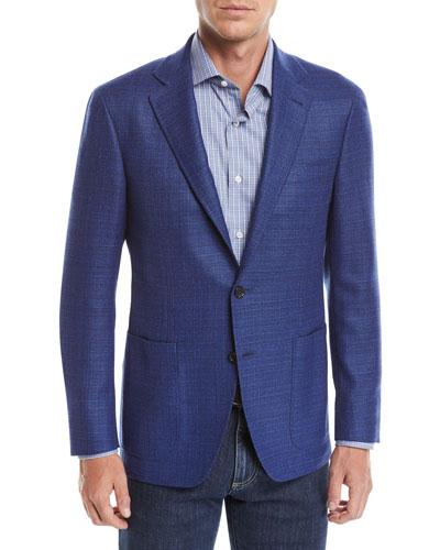 Men's Textured Solid Two-Button Blazer