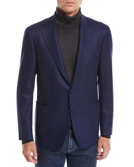 CANALI Men'S Solid Herringbone Two-Button Blazer in Navy