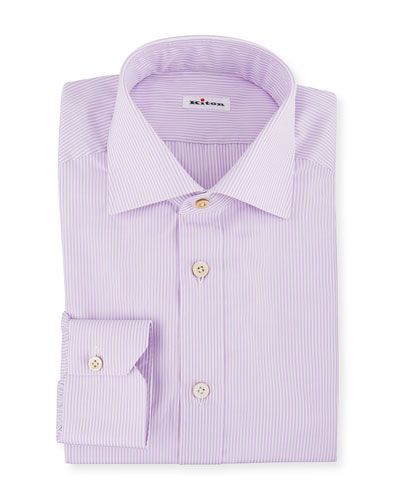 Men's Striped Barrel-Cuff Dress Shirt