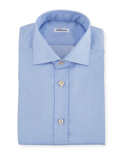 Men's Needle-Stripe Barrel-Cuff Dress Shirt