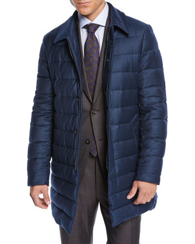 Men's Long Down Quilted Coat
