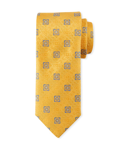 Men's Fancy Medallion Silk Tie, Yellow