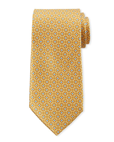 Men's Connected Medallions Silk Tie, Yellow