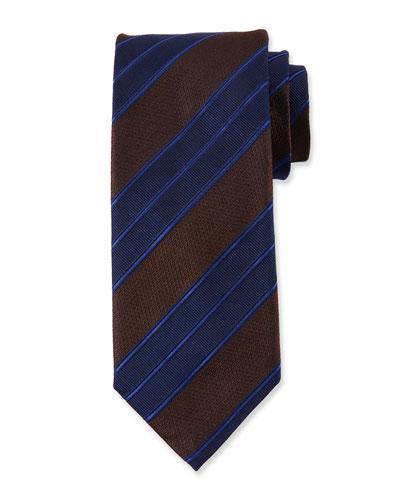 Men's Double Repp Stripe Silk Tie, Brown