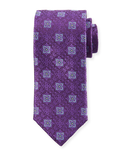 Men's Fancy Medallion Silk Tie, Purple