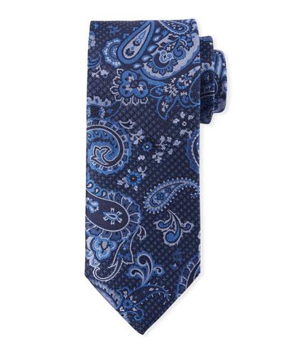 Paisley-On-Jacquard Silk Tie, Blue