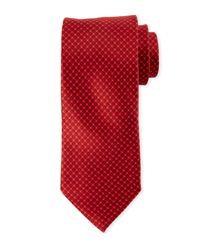 Men's Tonal Circles Silk Tie, Red