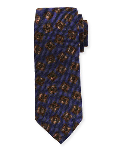 Textured Box-Pattern Wool-Silk Tie
