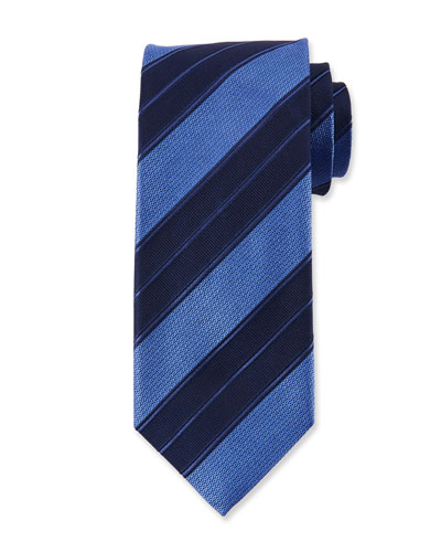 Men's Double Repp Stripe Silk Tie, Blue
