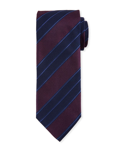 Men's Double Repp Stripe Silk Tie, Burgundy