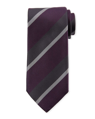 Large Repp Stripe Silk Tie