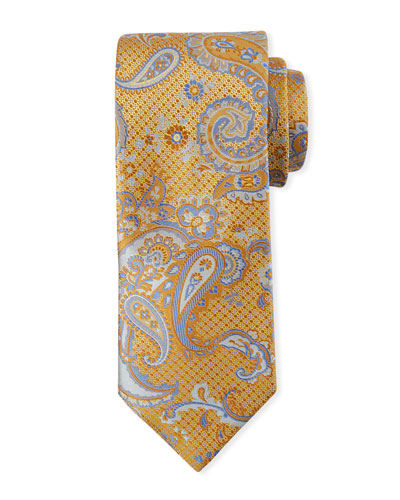 Paisley-on-Jacquard Silk Tie, Yellow