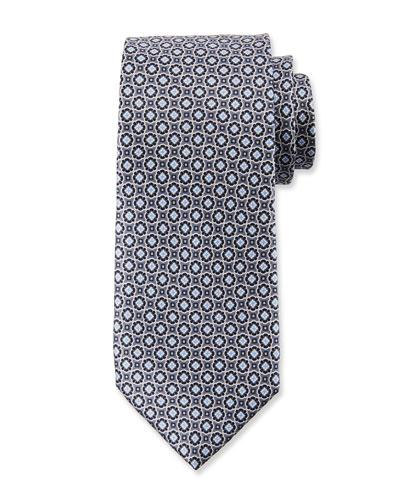 Men's Connected Medallions Silk Tie, Gray