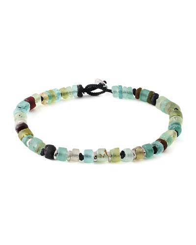 Men's Roman Glass Beaded Bracelet, Medium